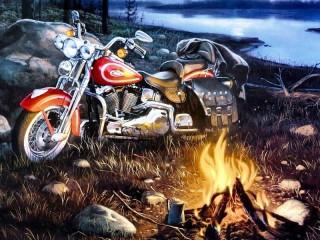 Собирать пазл At bonfire онлайн