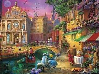 Собирать пазл Evening in Venice онлайн