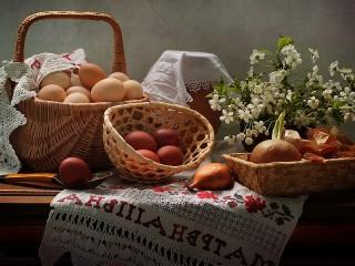 Собирать пазл Eggs and flowers онлайн