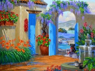Собирать пазл Picturesque patio онлайн